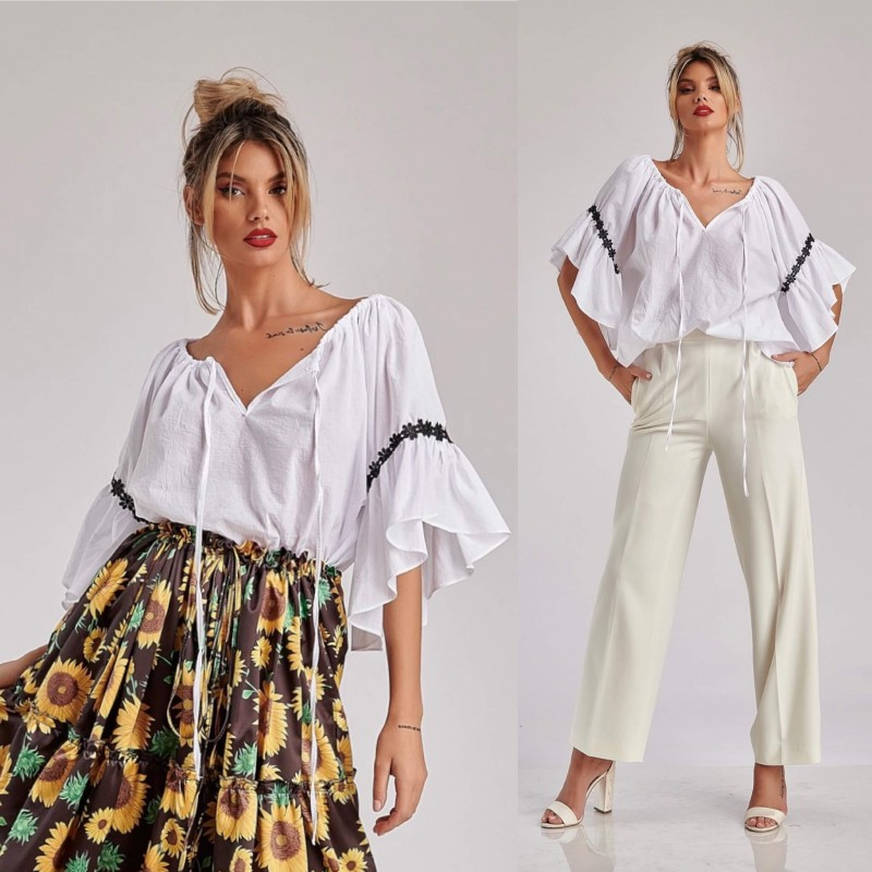Bluza stilizata din panza topita - alb 06