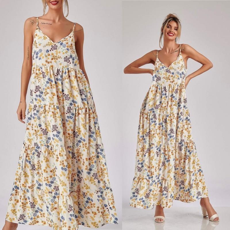 Rochie lunga cu volane si imprimeu floral - Eliza