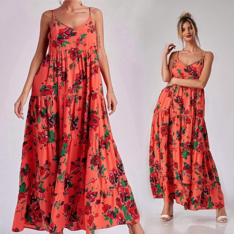 Rochie Nationala corai lunga cu imprimeu floral - Rosa 01