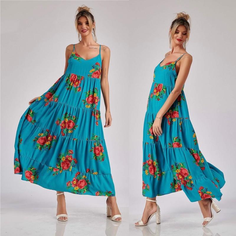 Rochie Nationala turcoaz lunga cu imprimeu floral - Rosa 02