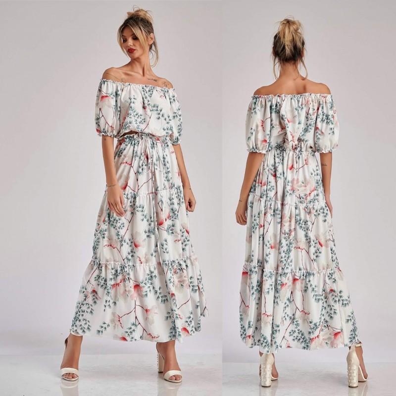 Set bluza si fusta lunga cu imprimeu floral magnolie