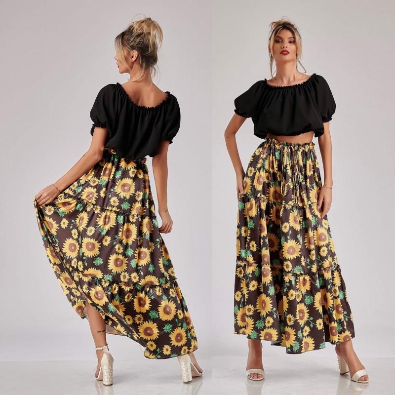 Set bluza neagra si fusta lunga floarea soarelui