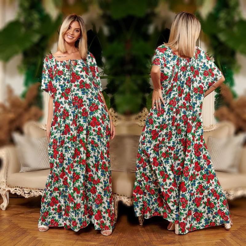 Rochie Nationala alba lunga din amestec casmir cu imprimeu floral - Carmen 02