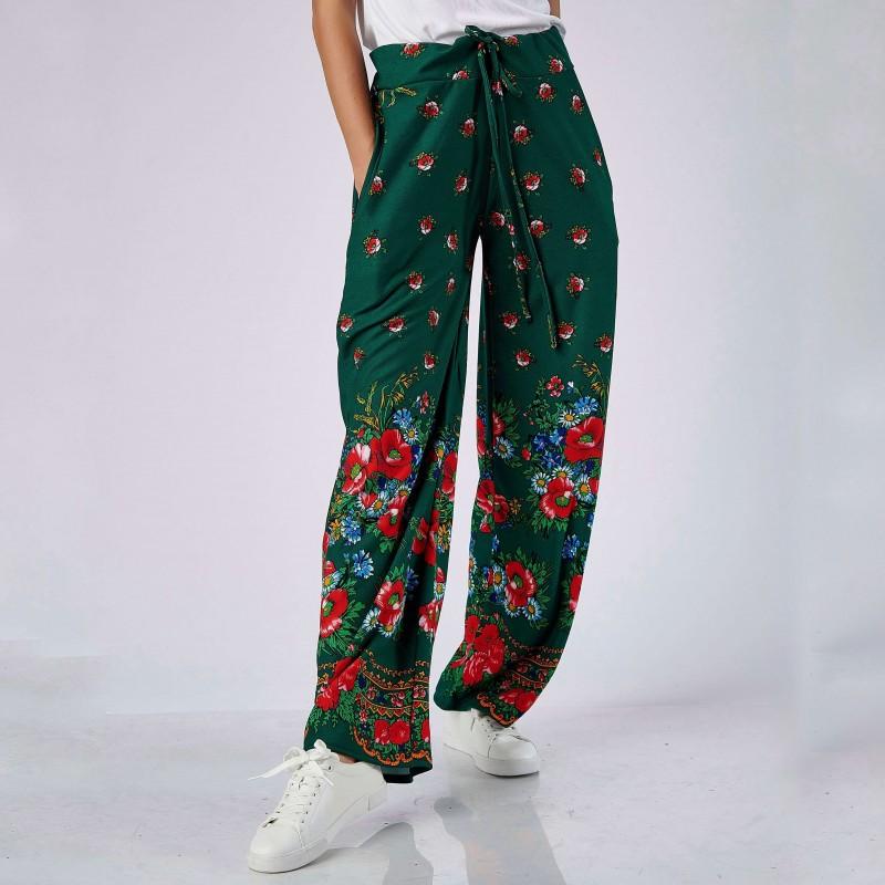 Pantaloni verzi cu imprimeu floral - 03