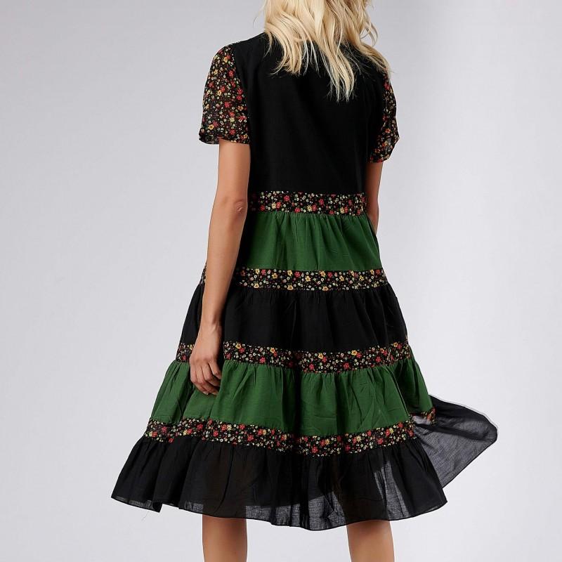 Rochie cu volane si imprimeu floral - Aniela negru 04