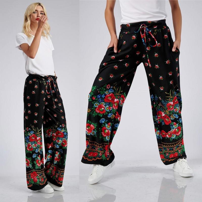 Pantaloni albi din panza topita cu banda florala - 01