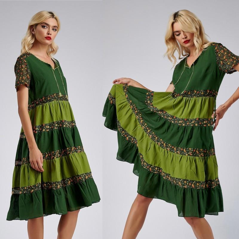 Rochie cu volane si imprimeu floral - Aniela verde 02