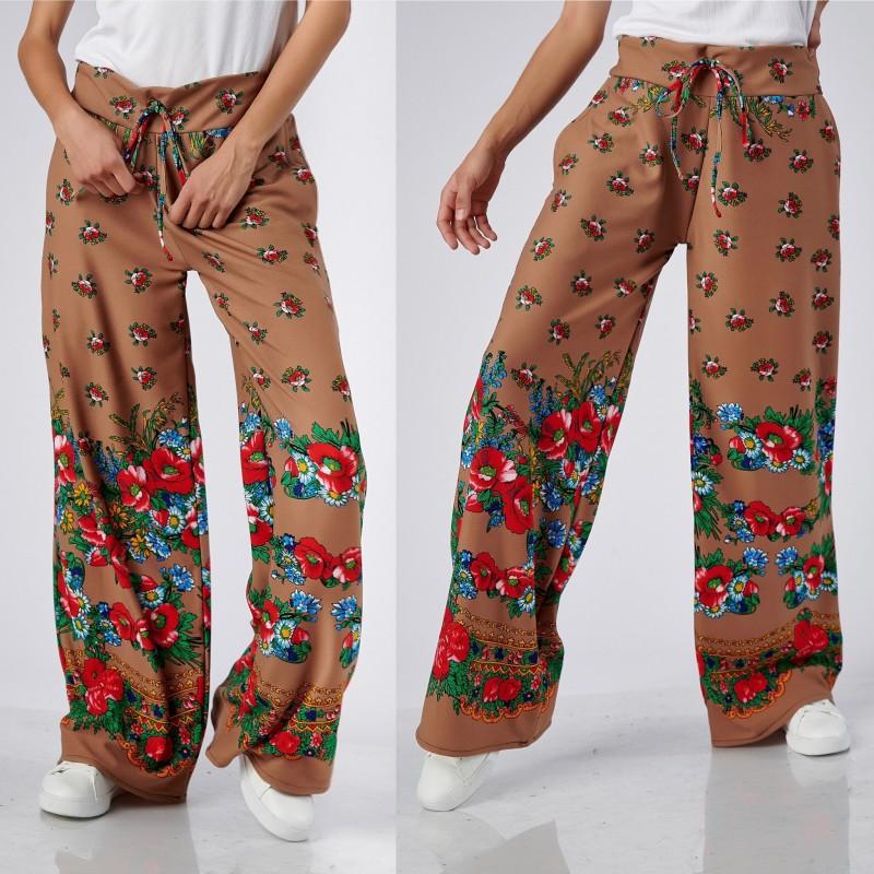 Pantaloni bej cu imprimeu floral - 02