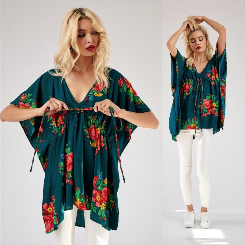 Bluza verde lunga cu broderie florala - Florentina