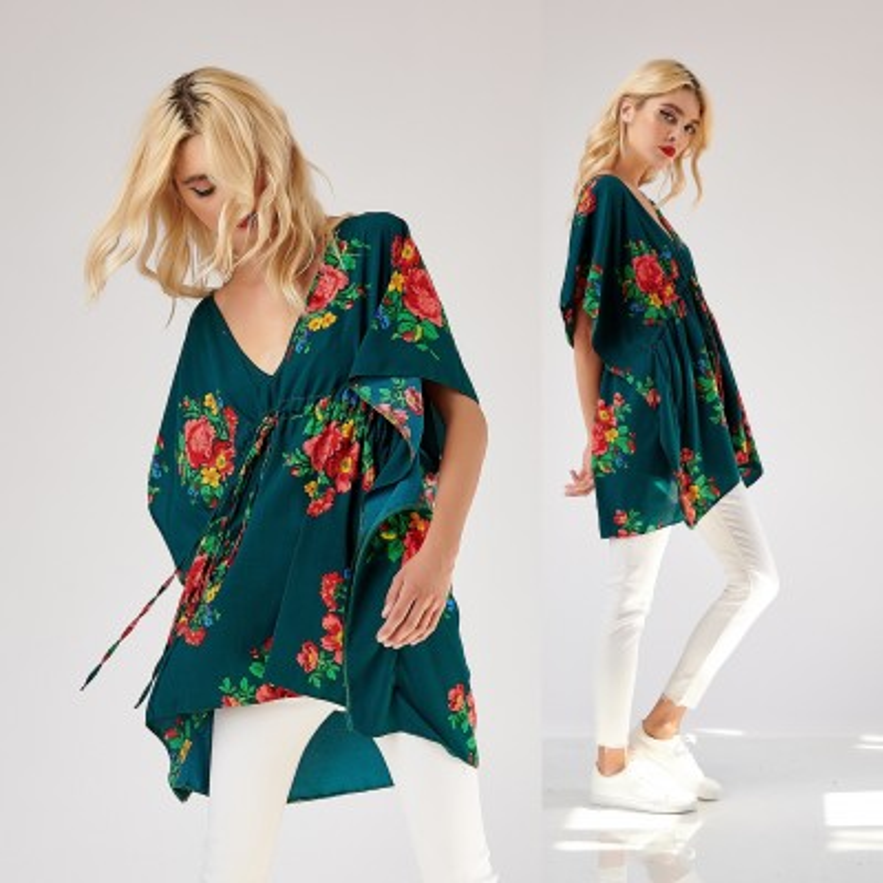 Bluza alba lunga cu broderie florala - Elena