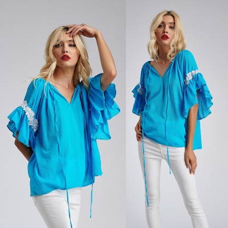 Bluza stilizata din panza topita - turcoaz 12