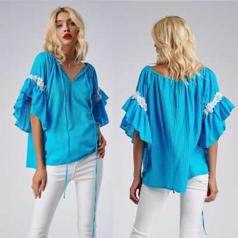 Bluza stilizata din panza topita - turcoaz 05
