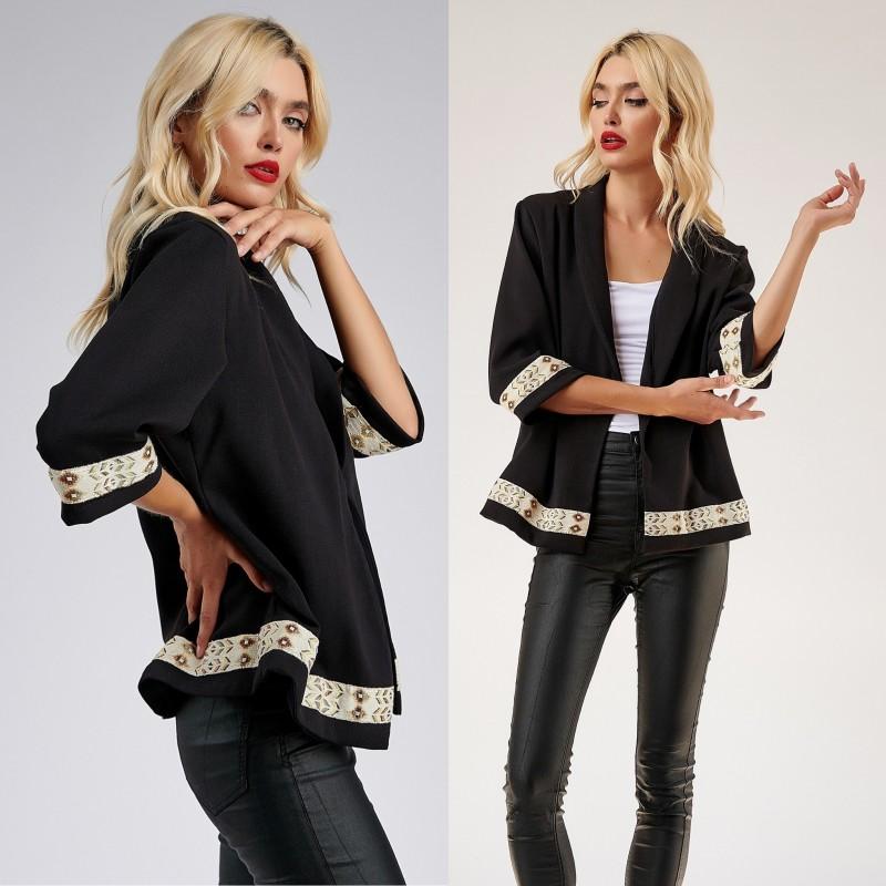 Sacou Traditional negru cu model tesut - Laura