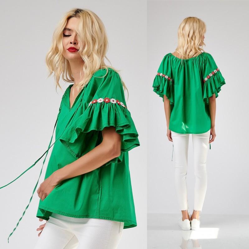 Bluza stilizata din vascoza creponata - verde 10