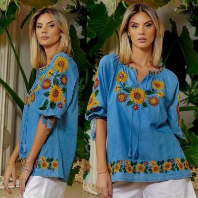 Bluza tip ie din denim brodata - Floarea Soarelui