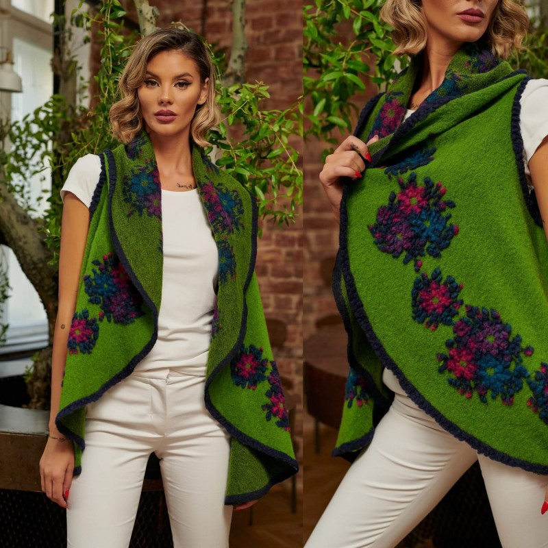 Vesta din lana verde