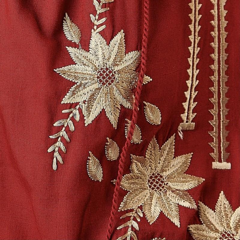 Bluza brodata bordo cu flori aurii - Lavinia 02