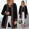 Palton brodat negru din stofa de lana - Flori