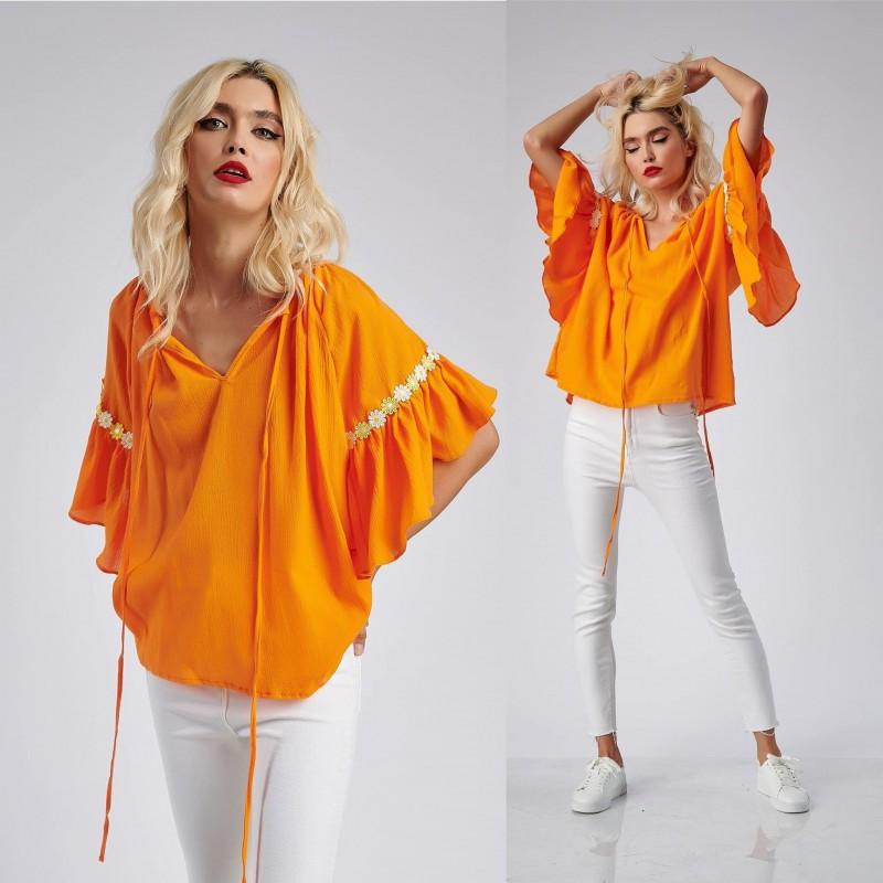 Bluza stilizata din panza topita - portocaliu 09