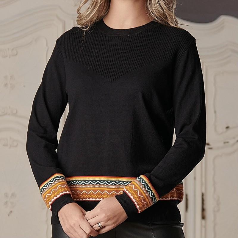 Pulover din casmir cu model traditional - negru 03