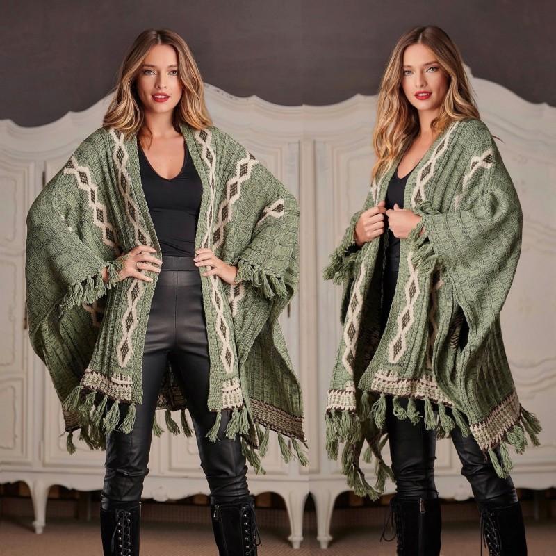 Cardigan National oversize din tricot - Larisa verde 01
