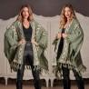 Cardigan national verde din tricot oversize  - Larisa  01