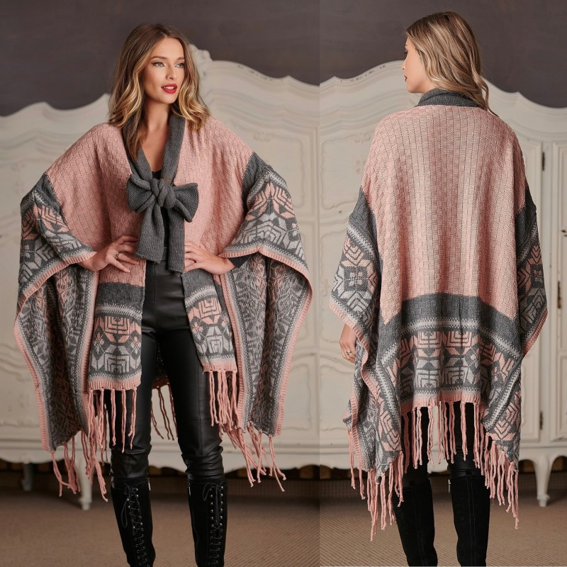 Cardigan Traditional oversize din tricot - Rebeca roz 02