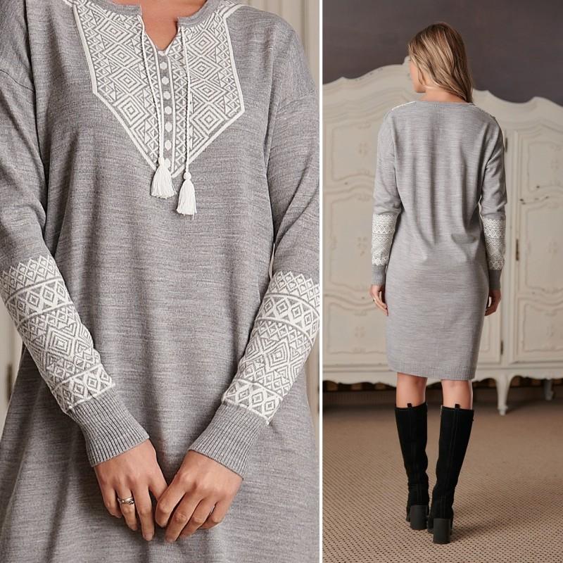 Rochie din tricot cu model traditional - gri 02