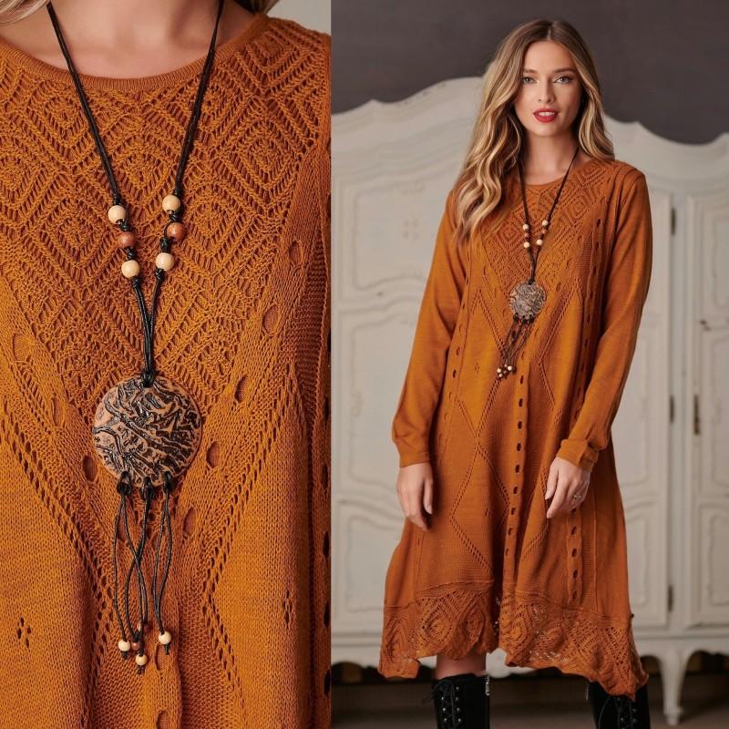 Rochie din tricot galben mustar - Daria 01