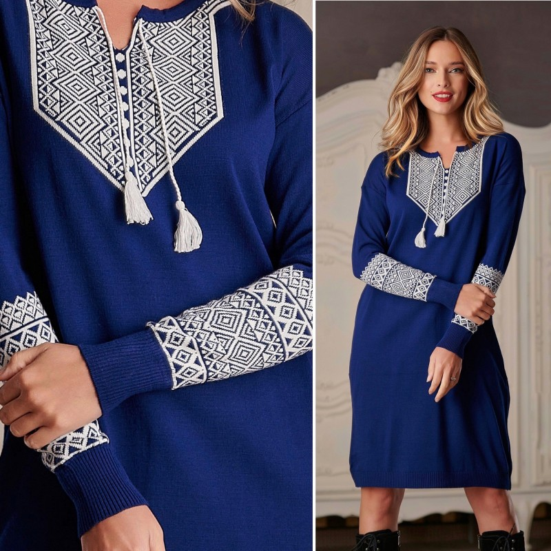 Rochie din tricot cu model traditional - bleumarin 03