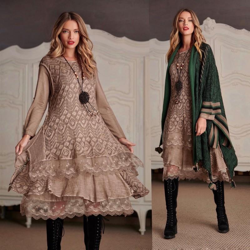Rochie din tricot cu broderie - Laura bej 02