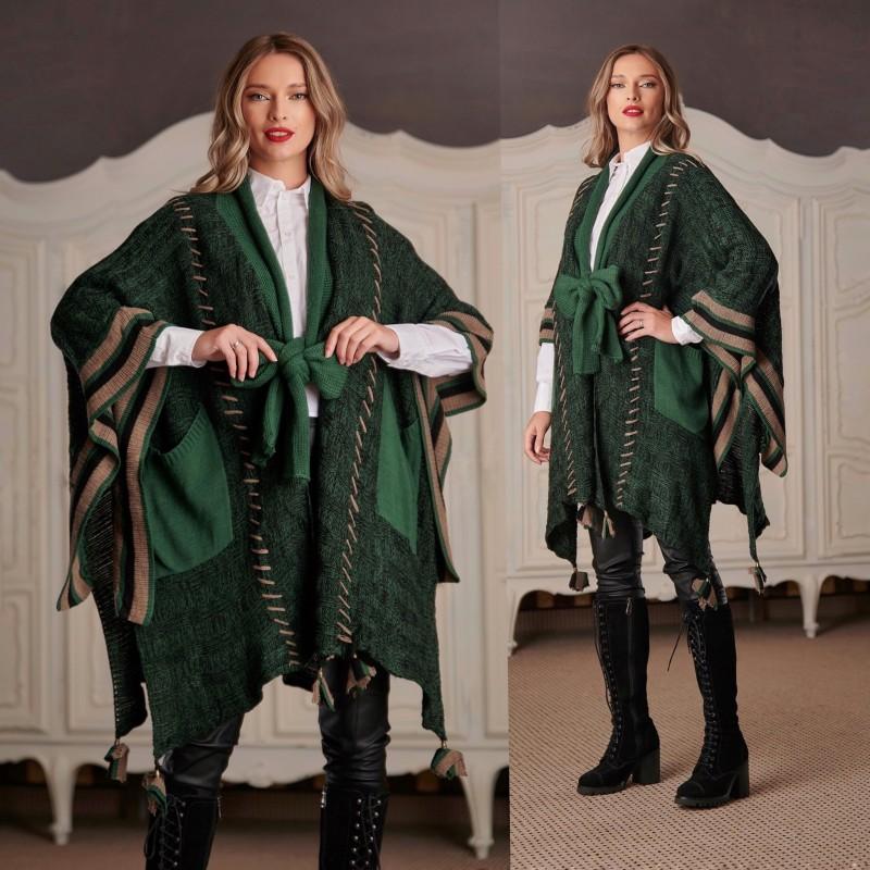 Cardigan National oversize din tricot - Roxana grena 02