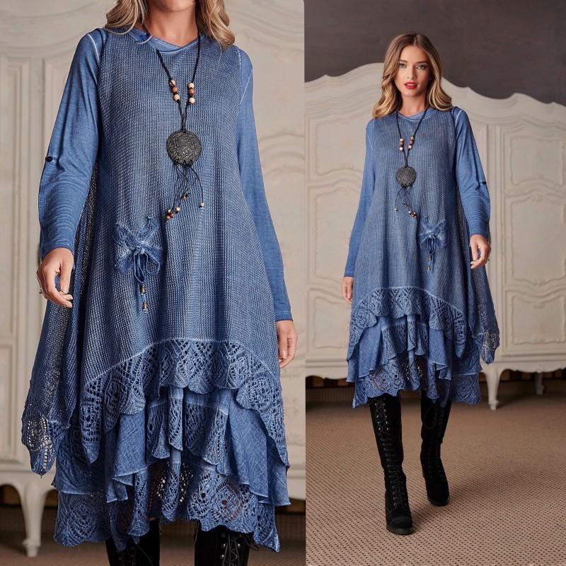 Rochie din tricot asimetrica - Lavinia albastru 01