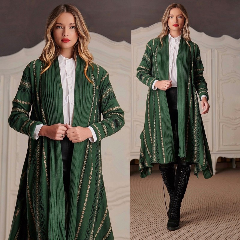 Cardigan Traditional lung din tricot verde - Clara  01
