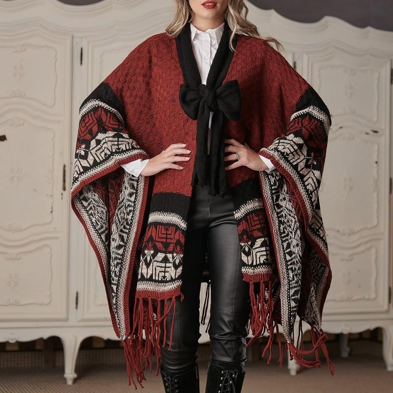 Cardigan Traditional oversize din tricot - Rebeca grena 01