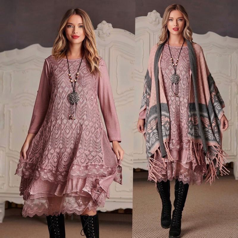 Rochie din tricot cu broderie - Laura roz pal 01