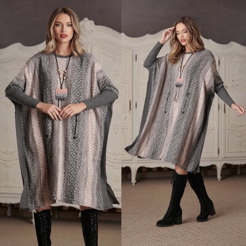 Rochie groasa din tricot gri - Flavia