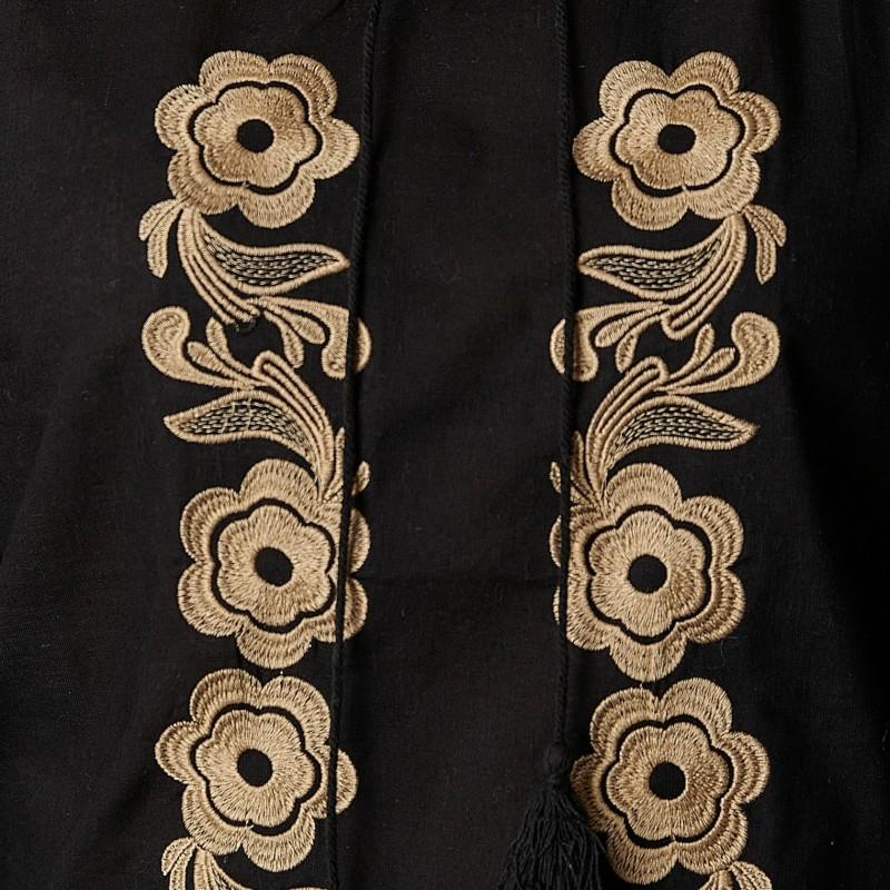 Bluza brodata neagra cu flori aurii - Lavinia 05