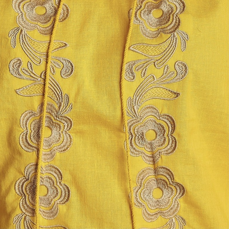 Bluza brodata galbena cu flori aurii - Lavinia 03