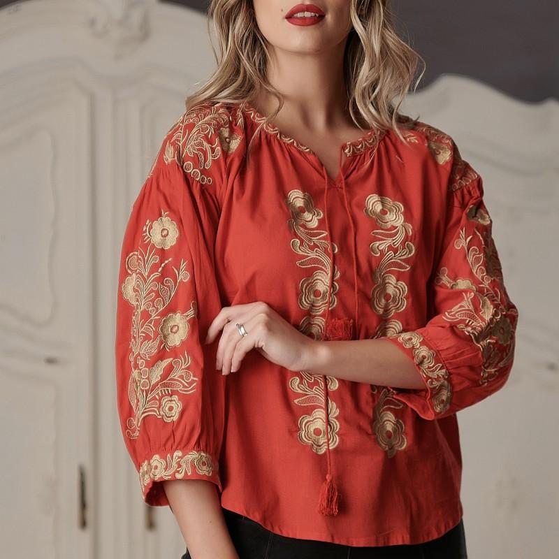 Bluza brodata rosie cu flori aurii - Lavinia 04