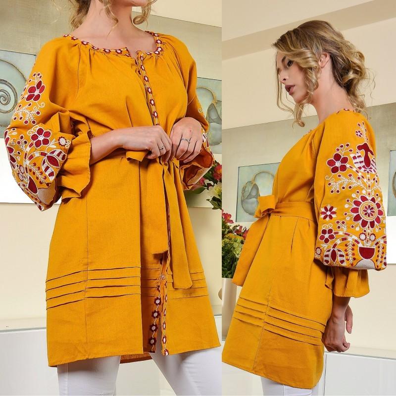 Bluza rochie cu broderie florala si maneci bufante Aura galbena