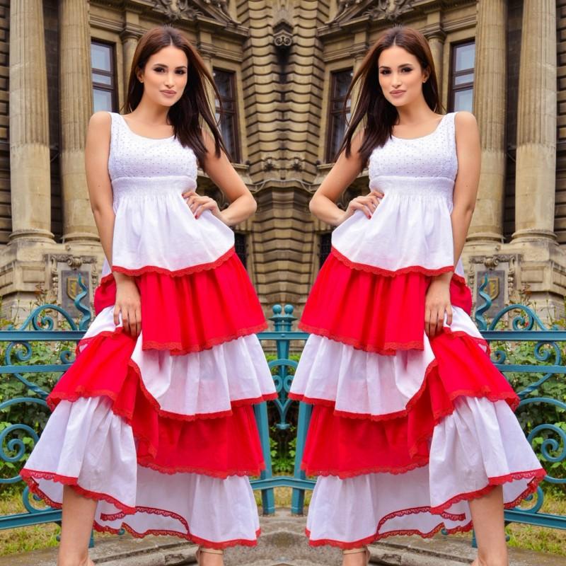 Rochie lunga cu volane Alice - corai