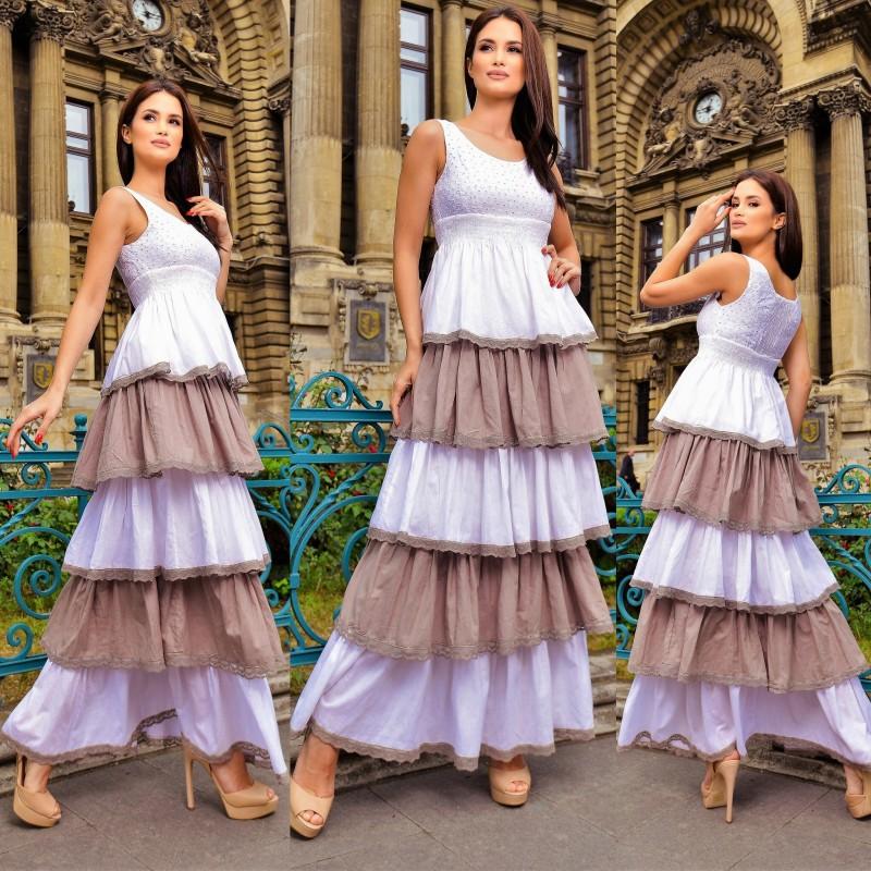 Rochie lunga cu volane Alice - crem