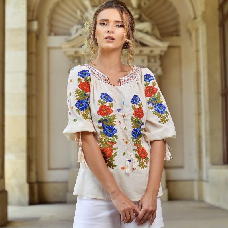 Bluza traditionala Roxana - bej