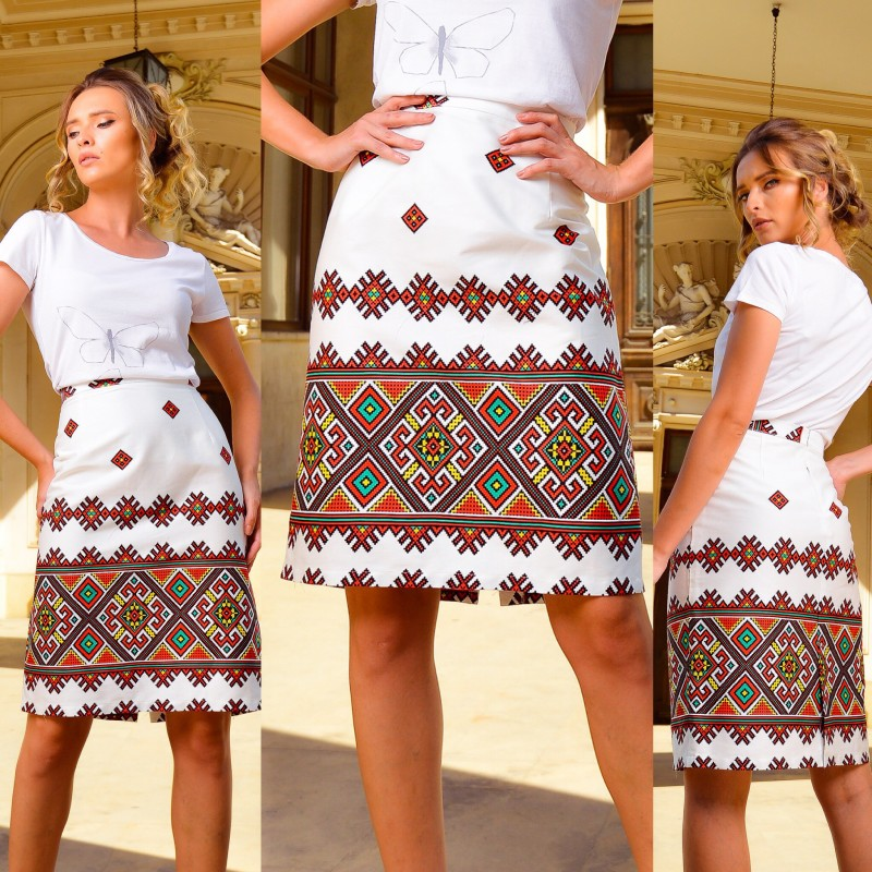 Fusta cu model traditional printat - Aura