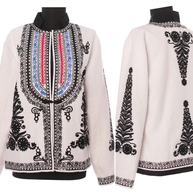 Sacou din lana cu elemente traditionale brodate - Teodora 01