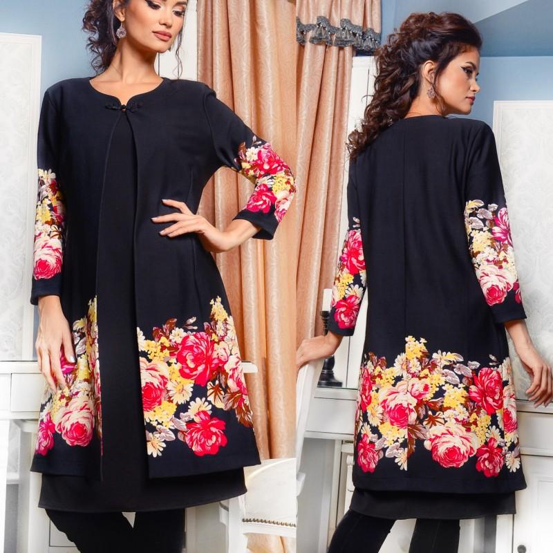 Compleu format din rochie si cardigan - negru